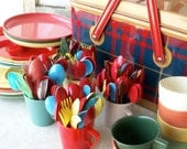 Tin Picnic Basket with assortment of Utensils