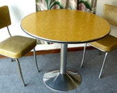 Round Yellow Vintage Formica Pedestal Table with Two Chairs