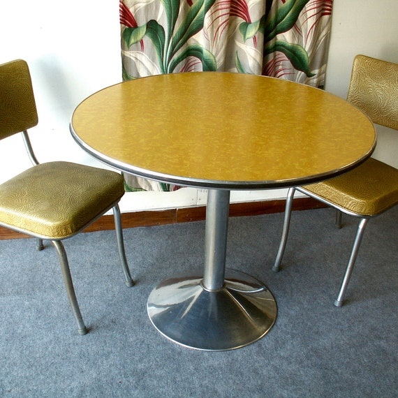 Round yellow vintage formica pedestal table with two chairs - Pedestal kitchen table set ...
