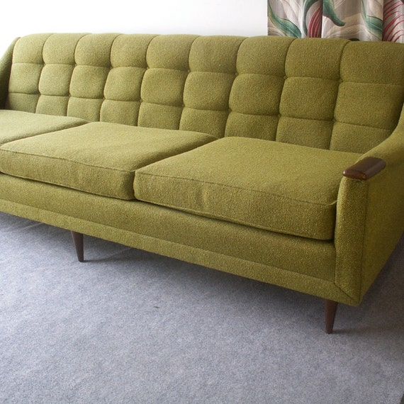 Vintage Avocado Green Sofa