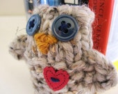 Love Owl- Cozy Hand Knit Owl- sweet peep