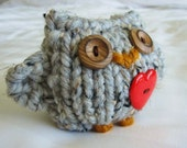 Cozy Hand Knit Love Owl- hooti
