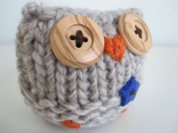 Hand Knitted Merino Wool Owl Stuffed Animal Toy- boy owl