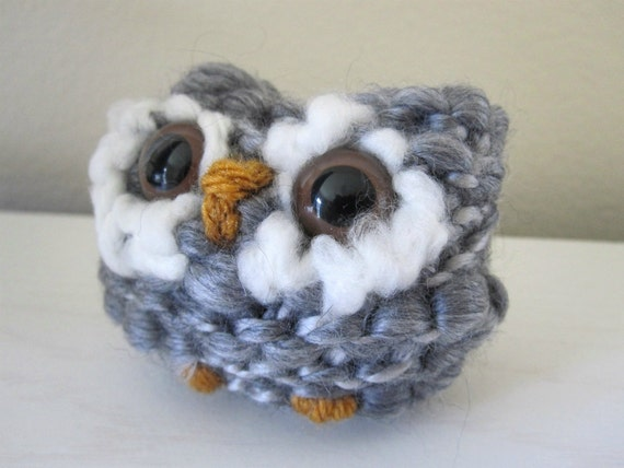 Plush Owl Toy- Hand Knit