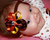 10% off by liking Lebelle Boutique on Facebook...Happy Thanksgiving,...Turkey Hair Clip and Skinny Infant Brown Stretchy Headband