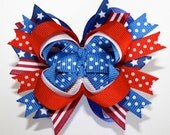 SALE....10% off by liking Lebelle Boutique on Facebook...Mini Red White and Blue July 4th Independence Day Stacked Hair Bow