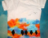 Hand Painted Clothing Like A Bird On A Wire T Shirt Sky Rainbow Colours // Hand Painted Clothing Wearable Art Bird Clothing / Hippie Boho