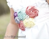 Silk Rosette Spring/Summer Sash- Bridal/Flower Girl/Bridesmaids- Bridal Belt