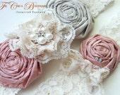 Wedding Garter SET- Vintage Romance Bridal Garter Set- Grey, Pink, Ivory