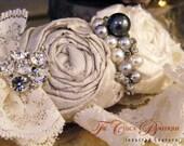 Bridal Garter Set- Ruffles and Lace Design 2- Platinum Ice