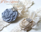 Ruffles and Lace- Something Blue- Bridal Garter Set- The Chica Boutique Original