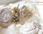 Bridal Garter Set- Ruffles and Lace Design 2- Ivory/Champagne Ice