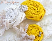 Vintage Romance Bridal Garter Set (Design 2) - Marigold Sunshine Yellow