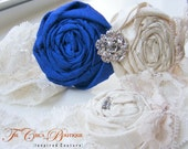 Bridal Garter Set- Something COBALT Blue- Vintage Romance Bridal Garter Set (Design 2)