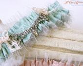 Wedding Garter Set- MissBettie-Ruffles-Dupioni Silk and Tulle- Vintage Rhinestones