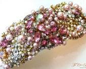 Bridal Cuff- SWAROVSKI- Rhinestone and Pearl Bridal Statement Bracelet- OOAK- Vintage Glamour- Cuff Bracelet