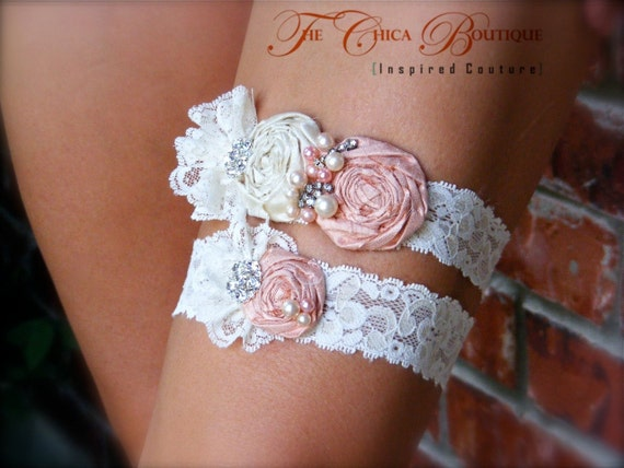 Bridal Garter Set- Ruffles and Lace Design 2- Peaches and Cream