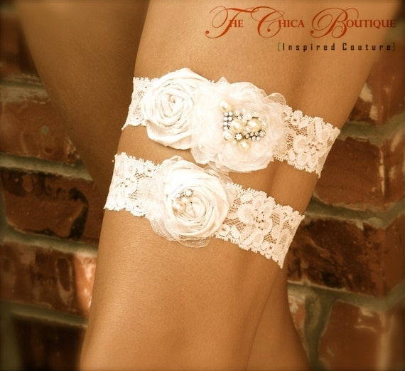 RESERVED for LACEY- Bridal Garter Set- Chica Luxe Series- Ivory/Champagne