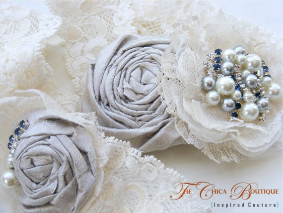 Vintage Wedding Lace Garter Set- Chica Luxe Series- Grey and Ivory