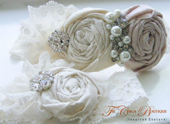 Bridal Garter Set- Ruffles and Lace Design 2- Vintage Pink and Cream