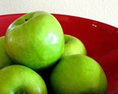 RESERVE for Kate     Green Apples Red Bowl
