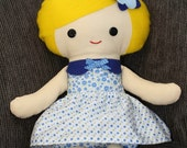 Scrappy Girl cloth rag doll - felt hair - fabric doll - soft toy for children