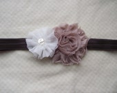 Mocha Shabby Flower with White Fabric Flower on Dark Brown Elastic Headband you choose size