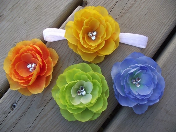 Four Ranunculus Flower Clips and a FREE Elastic Headband you choose size Green,Blue,Yellow,Orange
