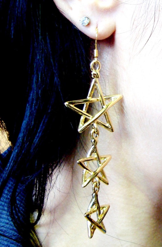 LAST PAIR Three Descending Stars - New Old Stock Gold Plated Earrings