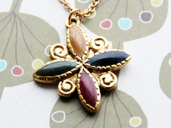 LAST ONE SALE - Vintage Multi-Colored Enamel Marquis Flower Necklace - 20 inch