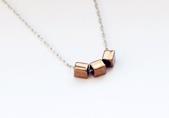 3 Vintage Gold Glass Cubes Necklace on Silver Chain - 17 inch