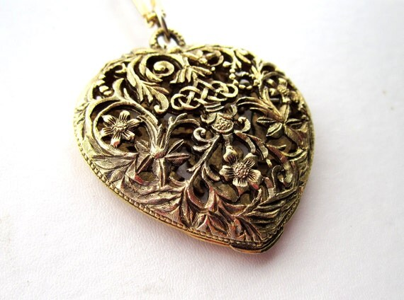 Large Antique Found Gold Filigree Heart Locket-Compact on Vintage bar Chain - 24 inch long necklace