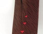SILK Cool Vintage Atomic Red and Brown Geo 1950s Tie Mr. Pierre -on sale-