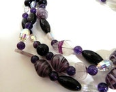 Vintage 40s Necklace Glass Bead Statement Piece carved Amethyst And Sterling Silver - on sale
