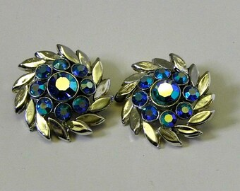 Vintage Earrings 40s 50s Fabulous Blueberry Aurora Borealis Clippies - on sale