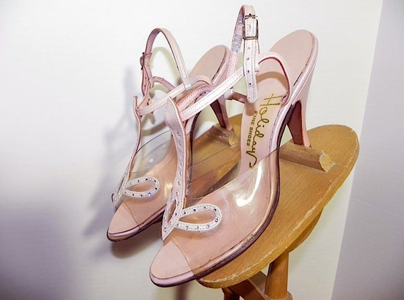 Fabulous Vintage 50s Pink T-Strap Leather and Perspex Heels 5 1/2 -on sale-
