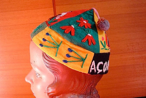 Vintage 30s 40s Acores Folk Travel Beanie with Embroidered People - on sale