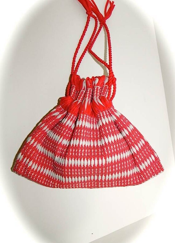 Vintage 50s 60s Red & White Hand Woven Mexicali Handbag -on sale-