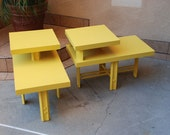 Pair of 60's Retro Tiered Side Tables in Banana Yellow  (Los Angeles)