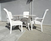 Dining Table & 4 Chairs White Wood Retro Mod (Los Angeles)