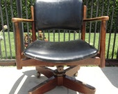 RESERVE-DAN-Mid Century Modern Swivel Desk Chair Black Leather (Los Angeles)