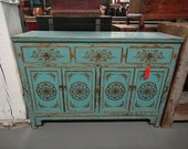 Asian Inspired Media Stand Console Table in Turquoise with Gold Detail (Los Angeles)