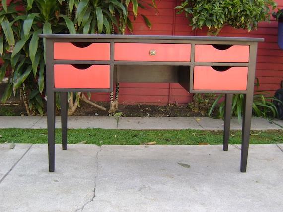 SALE-Retro Modern Black and Red Desk or Vanity (Los Angeles)