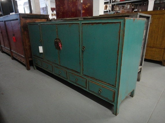 Items similar to asian inspired turquoise media cabinet for Asian console cabinet