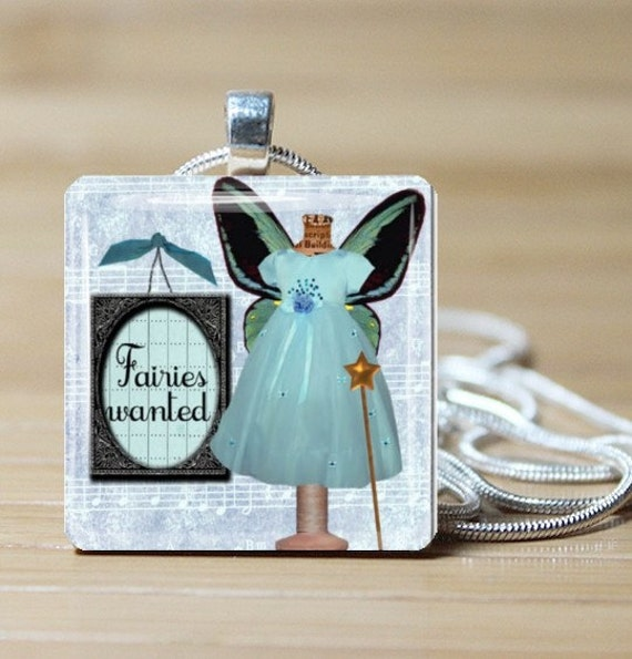 Fairies Wanted in Blue, Glass Tile Pendant Jewelry by Daintyhob on Etsy