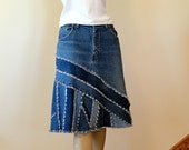 Blue Jeans Skirt - Ella 2Day Pieced Denim Skirt - Made to Order Upcycled Jean Skirt - Choice of lengths