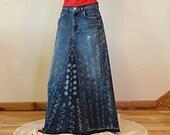 Long Denim Skirt - Made to Order - Bleach Treated Hippie Long Denim Skirt