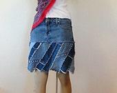 Strip Pieced Short Jean Skirt -  Made to Order - Diva Twist Denim Skirt
