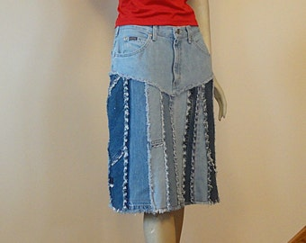 Upcycled Blue Jean Skirt - Melanie 2day Jeans Skirt - SALE!