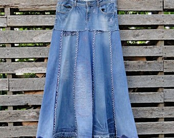 Distressed Long Jean Skirt - Made to Order Upcycled Long Jean Skirt